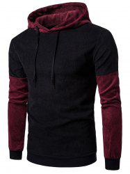 Long Sleeve Color Block Panel Corduroy Hoodie - BLACK