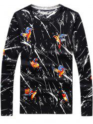 3D Birds and Splatter Paint Print Sweater - BLACK XL