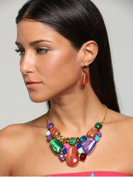 Faux Gemstone Retro Statement Necklace Set - Tangerine