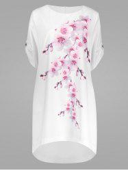 Peach Blossom Plus Size Casual Modest Dress with Pockets - PEACH RED 3XL