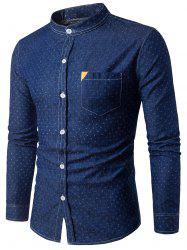 PU Leather Embellished Pocket Holes Design Denim Shirt - DEEP BLUE M