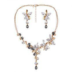 Faux Crystal Flower Earring and Necklace Set