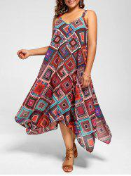 Spaghetti Strap Geometric Printed Plus Size Handkerchief Dress - MULTI