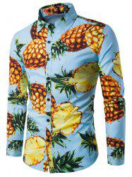 Long Sleeve 3D Pineapple Print Shirt - BLUE