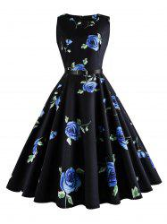 Plus Size Floral Print Retro Dress - BLUE