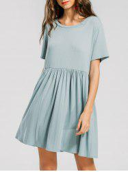 Ruffled Seam Knitted Mini Dress -