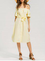 Off Shoulder Button Up Belted Dress -