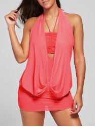One Piece Mesh Surplice Halter Swimsuit -