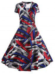 Plus Size Cap Sleeve Printed A Line Dress -