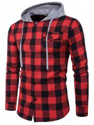 Hooded Panel Long Sleeve Pocket Tartan Shirt -