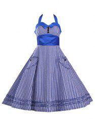 Halter Plaid Vintage Plus Size Dress -