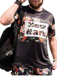 Plus Size Floral and Letters Printed T-shirt -