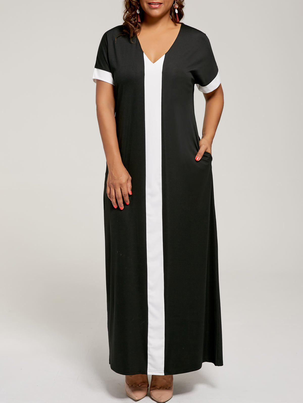 Plus Size Maxi Two Tone Short Sleeve Shift DressWOMEN<br><br>Size: 5XL; Color: BLACK; Style: Brief; Material: Cotton Blend,Polyester; Silhouette: Straight; Dresses Length: Ankle-Length; Neckline: Round Collar; Sleeve Length: Short Sleeves; Pattern Type: Others; With Belt: No; Season: Spring,Summer; Weight: 0.3000kg; Package Contents: 1 x Dress;