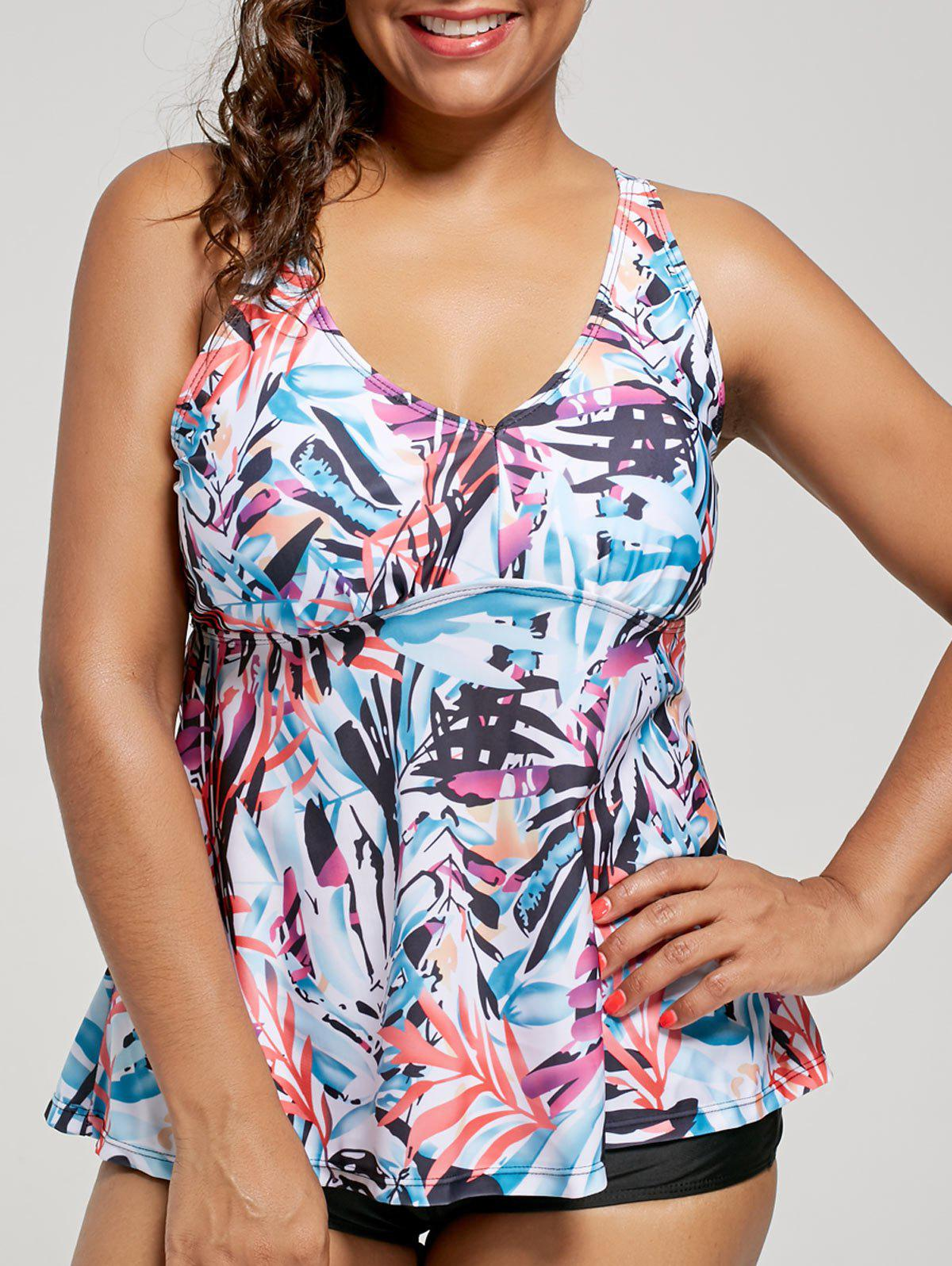 Plus Size Multi Color Printed Blouson Tankini SwimwearWOMEN<br><br>Size: 5XL; Color: FLORAL; Gender: For Women; Swimwear Type: Tankini; Material: Cotton,Polyester,Spandex; Bra Style: Padded; Support Type: Wire Free; Pattern Type: Floral; Waist: Natural; Elasticity: Elastic; Weight: 0.3200kg; Package Contents: 1 x Tankini Top 1 x Swim Bottom;