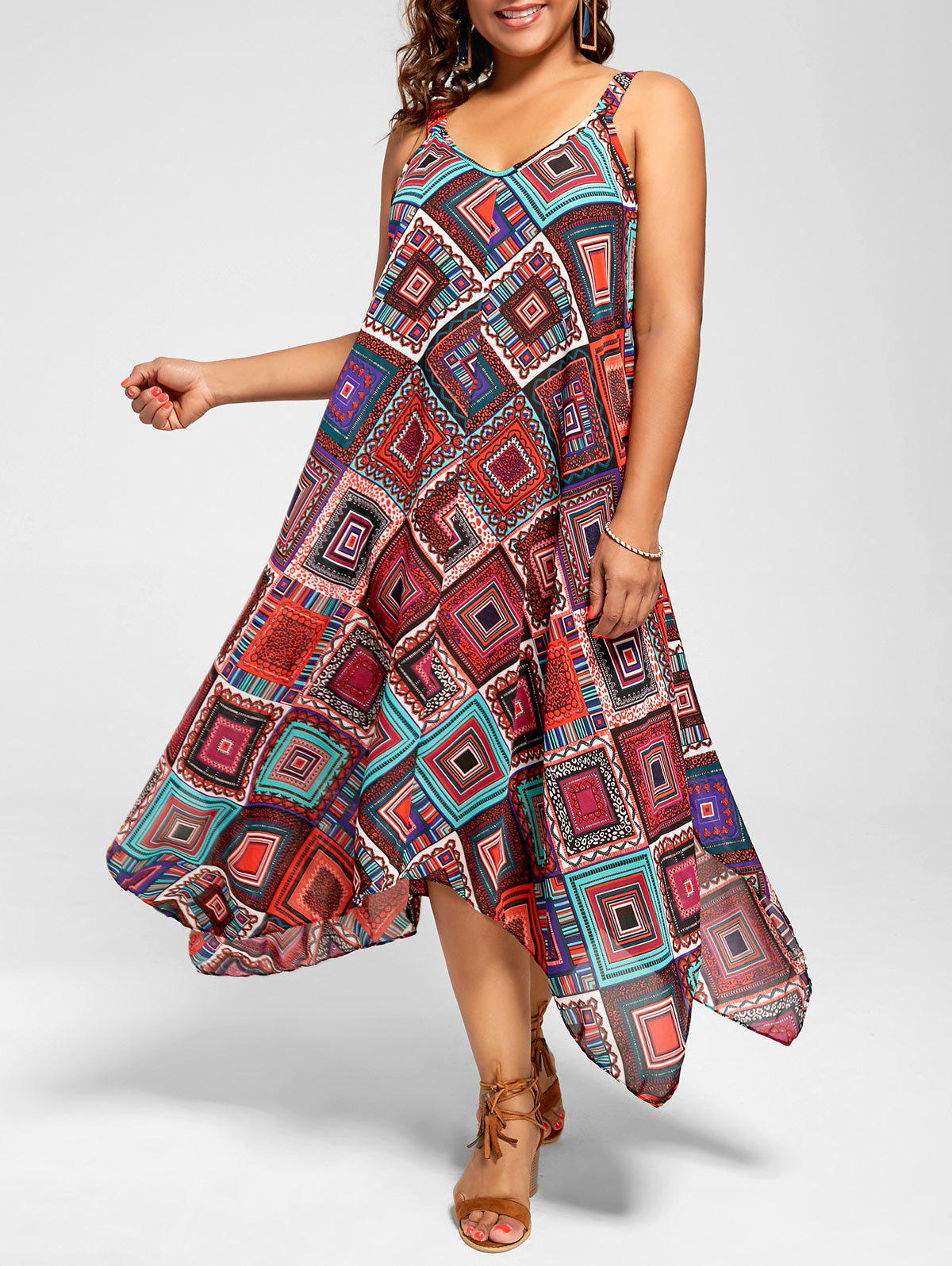 Outfits Spaghetti Strap Geometric Printed Plus Size Handkerchief Dress