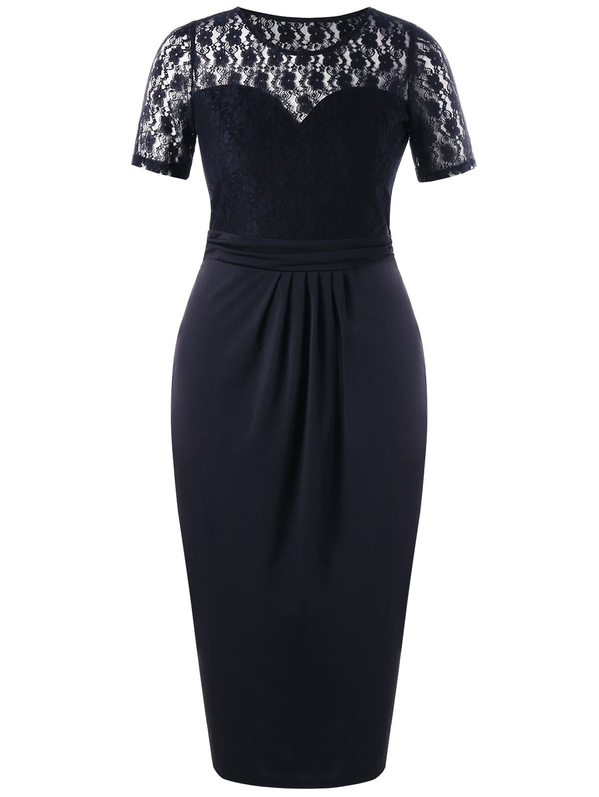 Plus Size Sheer Lace Trim Pencil DressWOMEN<br><br>Size: 4XL; Color: BLACK; Style: Brief; Material: Polyester,Spandex; Silhouette: Sheath; Dresses Length: Ankle-Length; Neckline: Round Collar; Sleeve Length: Short Sleeves; Pattern Type: Floral; With Belt: No; Season: Summer; Weight: 0.4500kg; Package Contents: 1 x Dress;