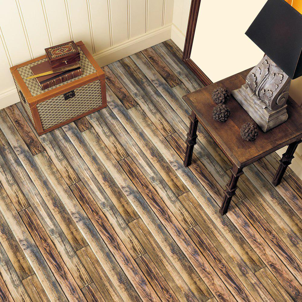 Deep brown home decor 3d wood grain floor sticker for Home decor vinyl flooring
