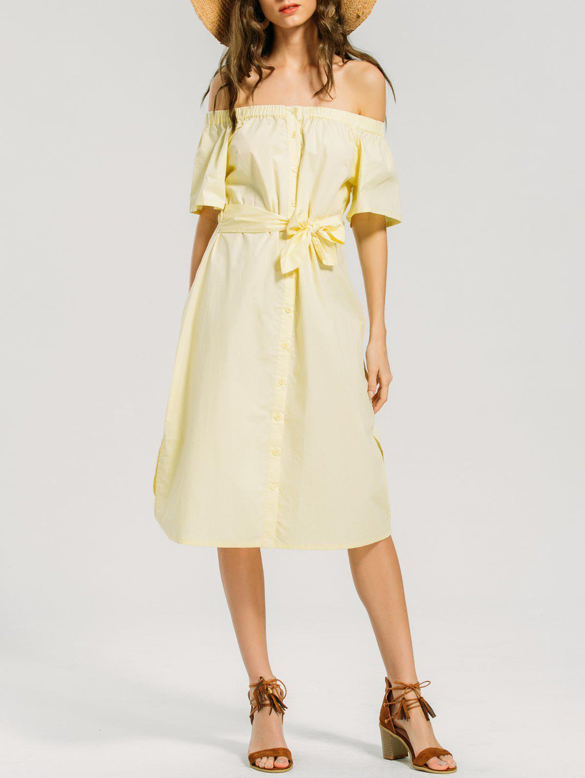 Fashion Off Shoulder Button Up Belted Dress