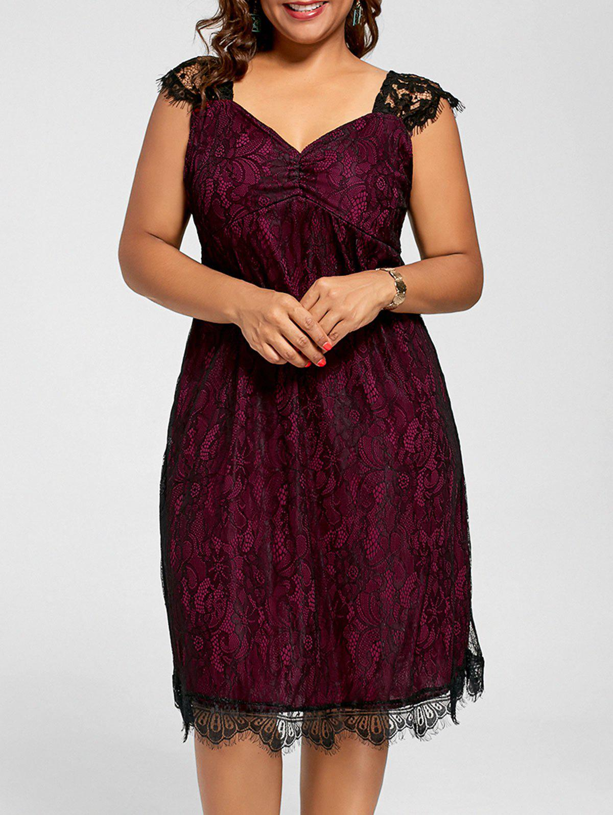 Lace Mini A Line Plus Size Cocktail DressWOMEN<br><br>Size: 3XL; Color: WINE RED; Style: Cute; Material: Polyester; Silhouette: A-Line; Dresses Length: Mini; Neckline: V-Neck; Sleeve Length: Sleeveless; Pattern Type: Solid; With Belt: No; Season: Summer; Weight: 0.2500kg; Package Contents: 1 x Dress;