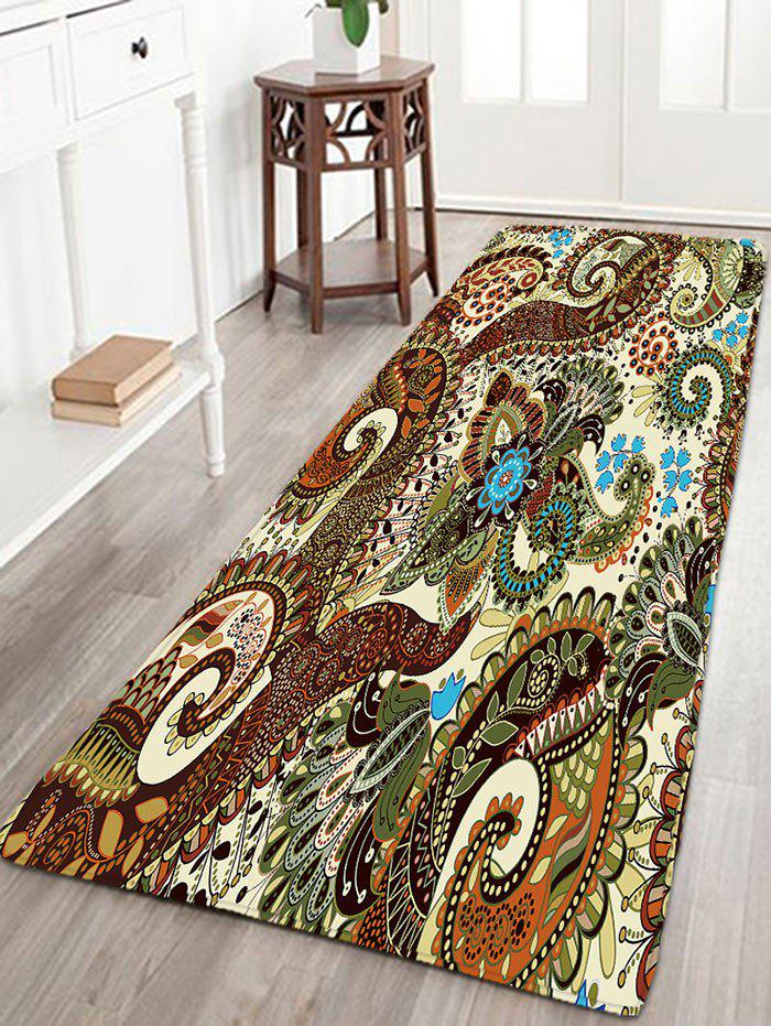 Bohemian Flower Bathroom Antiskid Flannel RugHOME<br><br>Size: W16 INCH * L47 INCH; Color: COLORMIX; Products Type: Bath rugs; Materials: Flannel; Pattern: Floral; Style: Bohemian; Shape: Rectangle; Package Contents: 1 x Rug;
