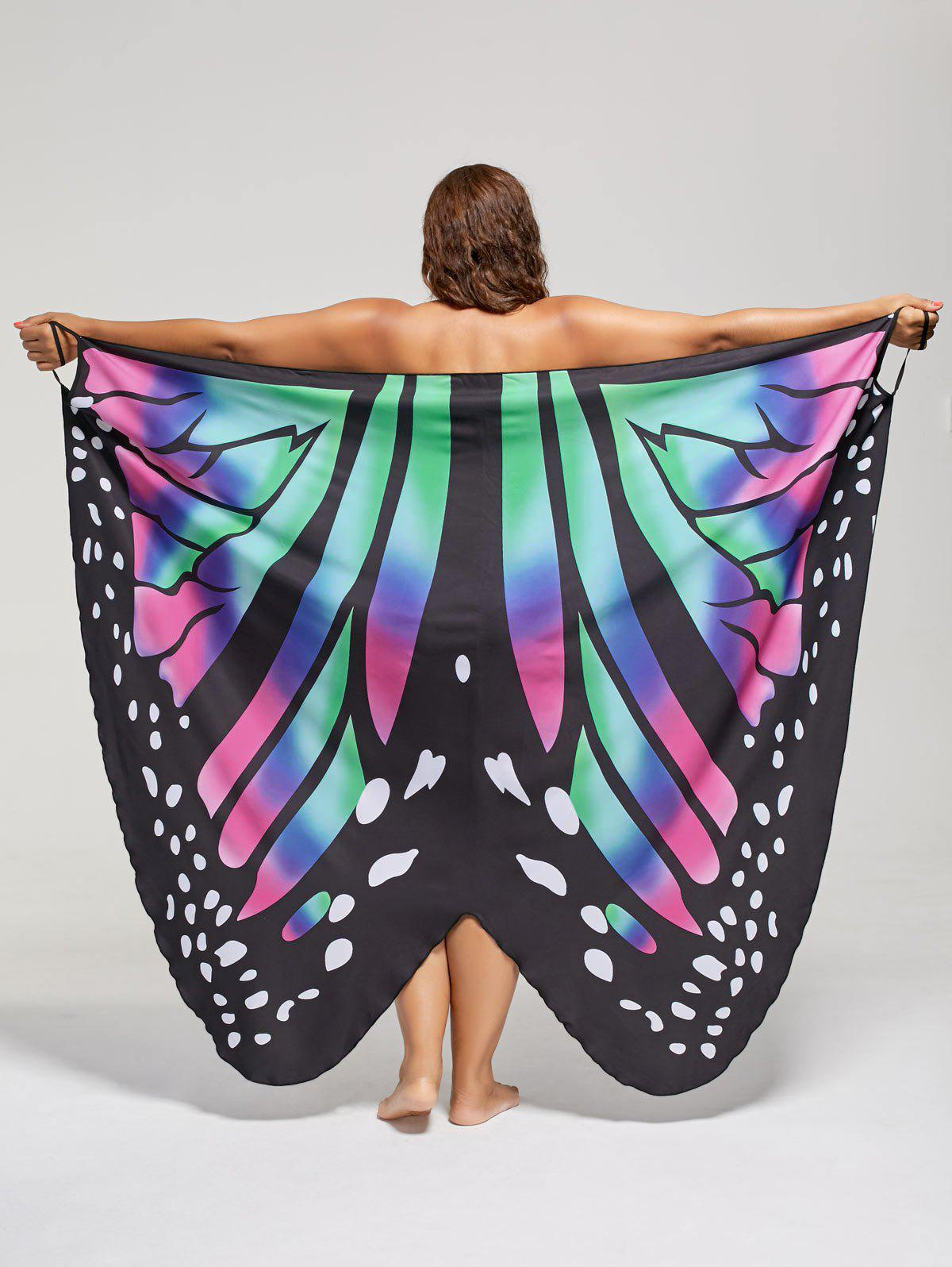 Plus Size Butterfly Beach Wrap Cover Up DressWOMEN<br><br>Size: 2XL; Color: COLORMIX; Gender: For Women; Swimwear Type: Cover-Up; Material: Polyester; Pattern Type: Insect; Waist: Natural; Weight: 0.2550kg; Package Contents: 1 x Dress;