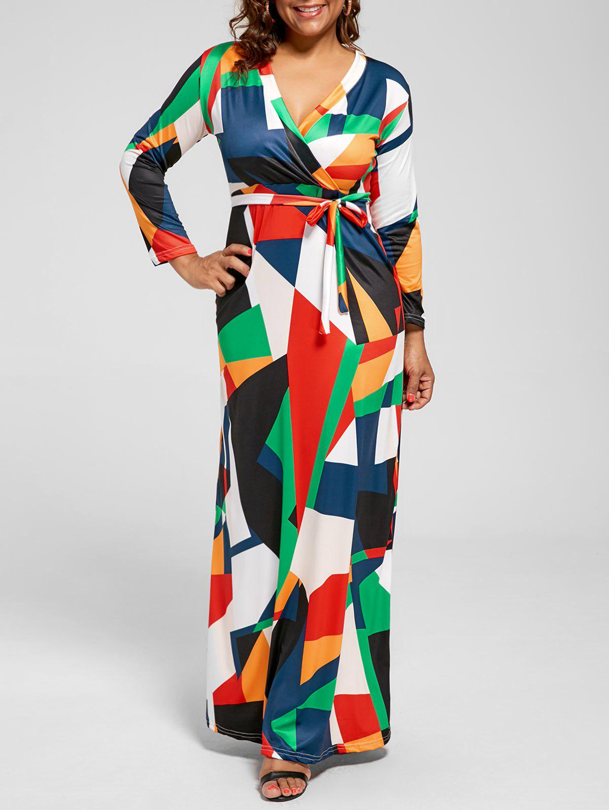 V Neck Color Block Long Plus Size DressWOMEN<br><br>Size: 5XL; Color: GREEN; Style: Cute; Material: Polyester; Silhouette: A-Line; Dresses Length: Floor-Length; Neckline: V-Neck; Sleeve Length: Long Sleeves; Pattern Type: Others; With Belt: Yes; Season: Fall,Spring; Weight: 0.5000kg; Package Contents: 1 x Dress  1 x Belt;
