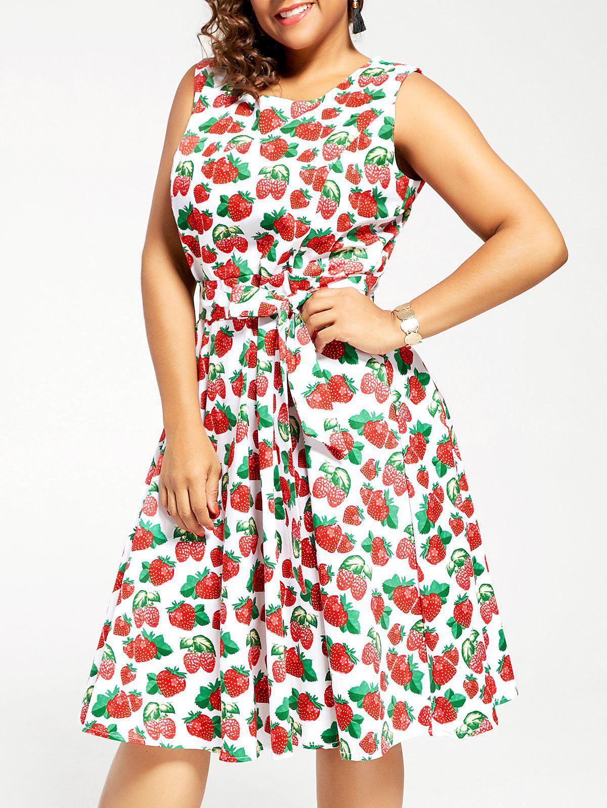 Cheap Vintage Strawberry Print Plus Size Skater Pin Up Dress