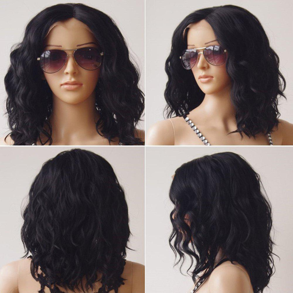 Medium Center Part Shaggy Layered Wavy Lace Front Synthetic WigHAIR<br><br>Color: BLACK; Type: Full Wigs; Cap Construction: Lace Front; Style: Wavy; Cap Size: Average; Material: Synthetic Hair; Bang Type: Middle; Length: Medium; Lace Wigs Type: Lace Front Wigs; Occasion: Daily; Length Size(CM): 40; Weight: 0.2800kg; Package Contents: 1 x Wig;