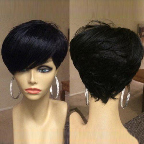 Short Oblique Bang Shaggy Layered Straight Synthetic WigHAIR<br><br>Color: BLACK; Type: Full Wigs; Cap Construction: Capless; Style: Straight; Material: Synthetic Hair; Bang Type: Side; Length: Short; Length Size(CM): 26; Weight: 0.1100kg; Package Contents: 1 x Wig;