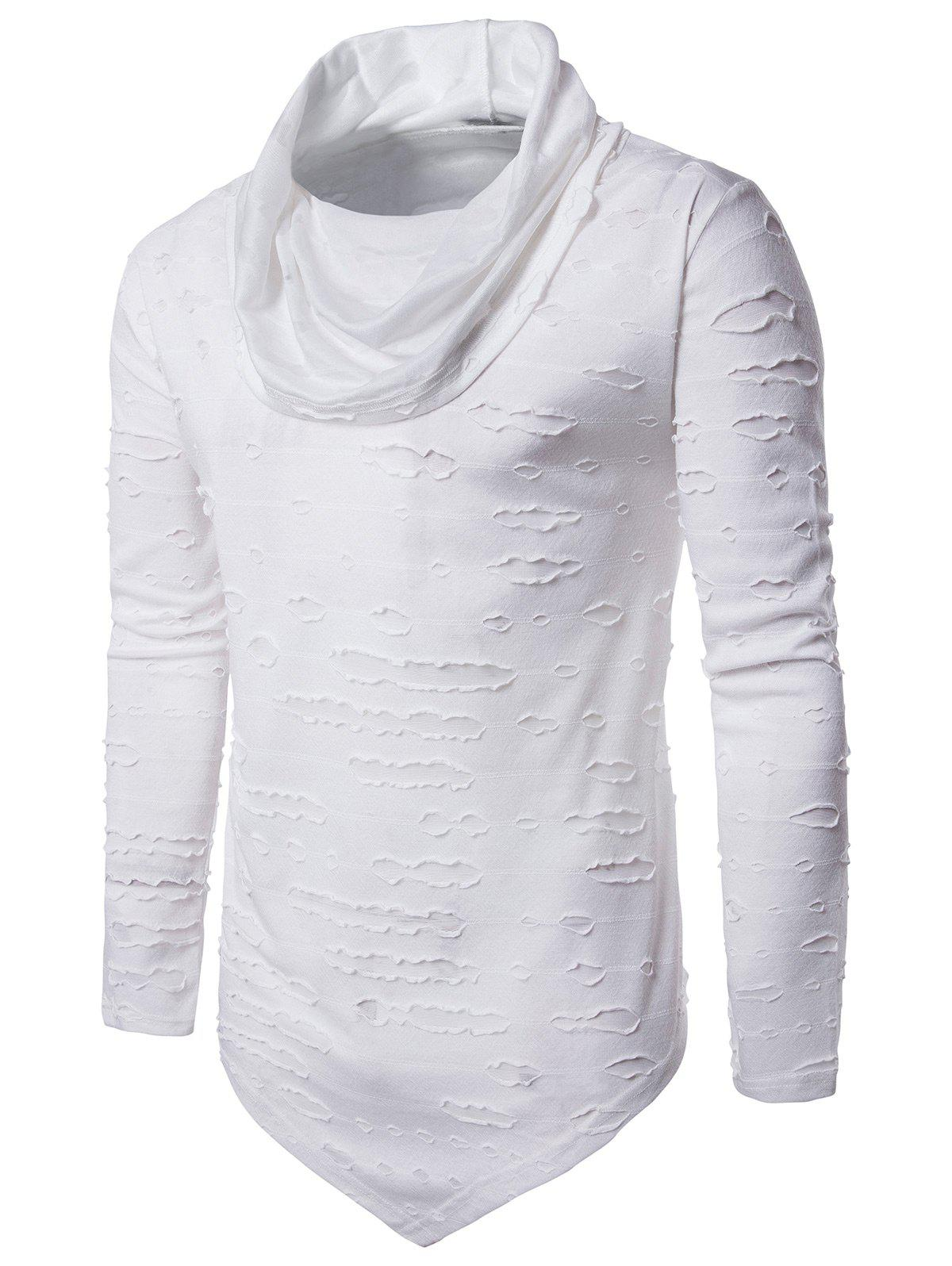 Distressed Triangle Bottom Asymmetric T-shirtMEN<br><br>Size: M; Color: WHITE; Material: Cotton,Polyester; Sleeve Length: Full; Collar: Cowl Neck; Style: Fashion,Punk,Rock; Embellishment: Hole; Pattern Type: Solid; Weight: 0.2935kg; Package Contents: 1 x T-shirt;