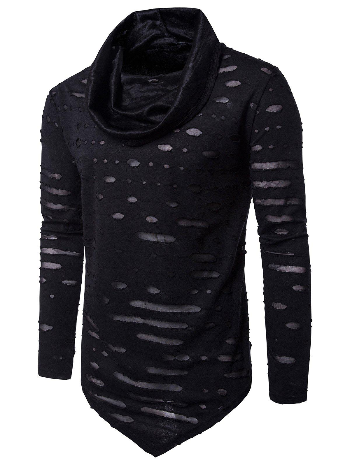 Distressed Triangle Bottom Asymmetric T-shirtMEN<br><br>Size: M; Color: BLACK; Material: Cotton,Polyester; Sleeve Length: Full; Collar: Cowl Neck; Style: Fashion,Punk,Rock; Embellishment: Hole; Pattern Type: Solid; Weight: 0.2935kg; Package Contents: 1 x T-shirt;