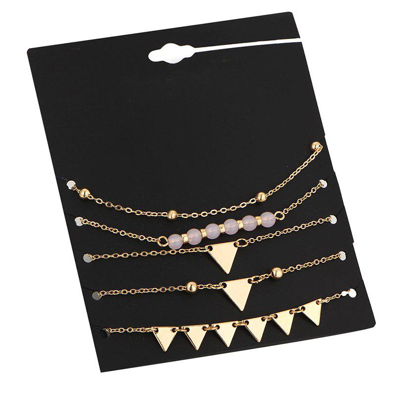 Beaded Triangle Chain Ankle SetJEWELRY<br><br>Color: GOLDEN; Gender: For Women; Style: Trendy; Shape/Pattern: Geometric; Length: 25CM; Weight: 0.0400kg; Package Contents: 5 x Ankles (Piece);