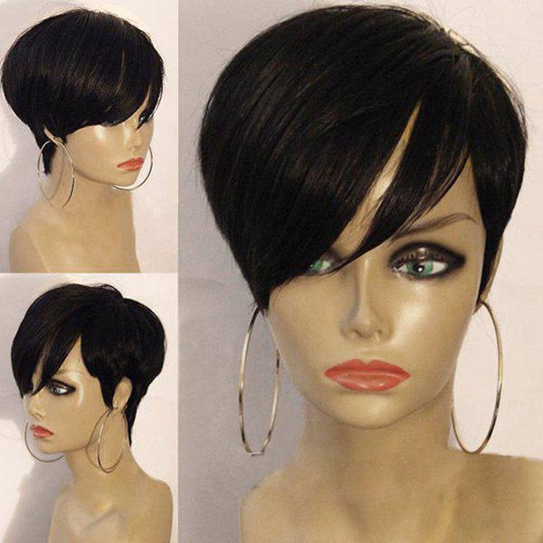 Short Inclined Bang Layered Straight Synthetic WigHAIR<br><br>Color: BLACK; Type: Full Wigs; Cap Construction: Capless; Style: Straight; Material: Synthetic Hair; Bang Type: Side; Length: Short; Length Size(CM): 26; Weight: 0.1100kg; Package Contents: 1 x Wig;
