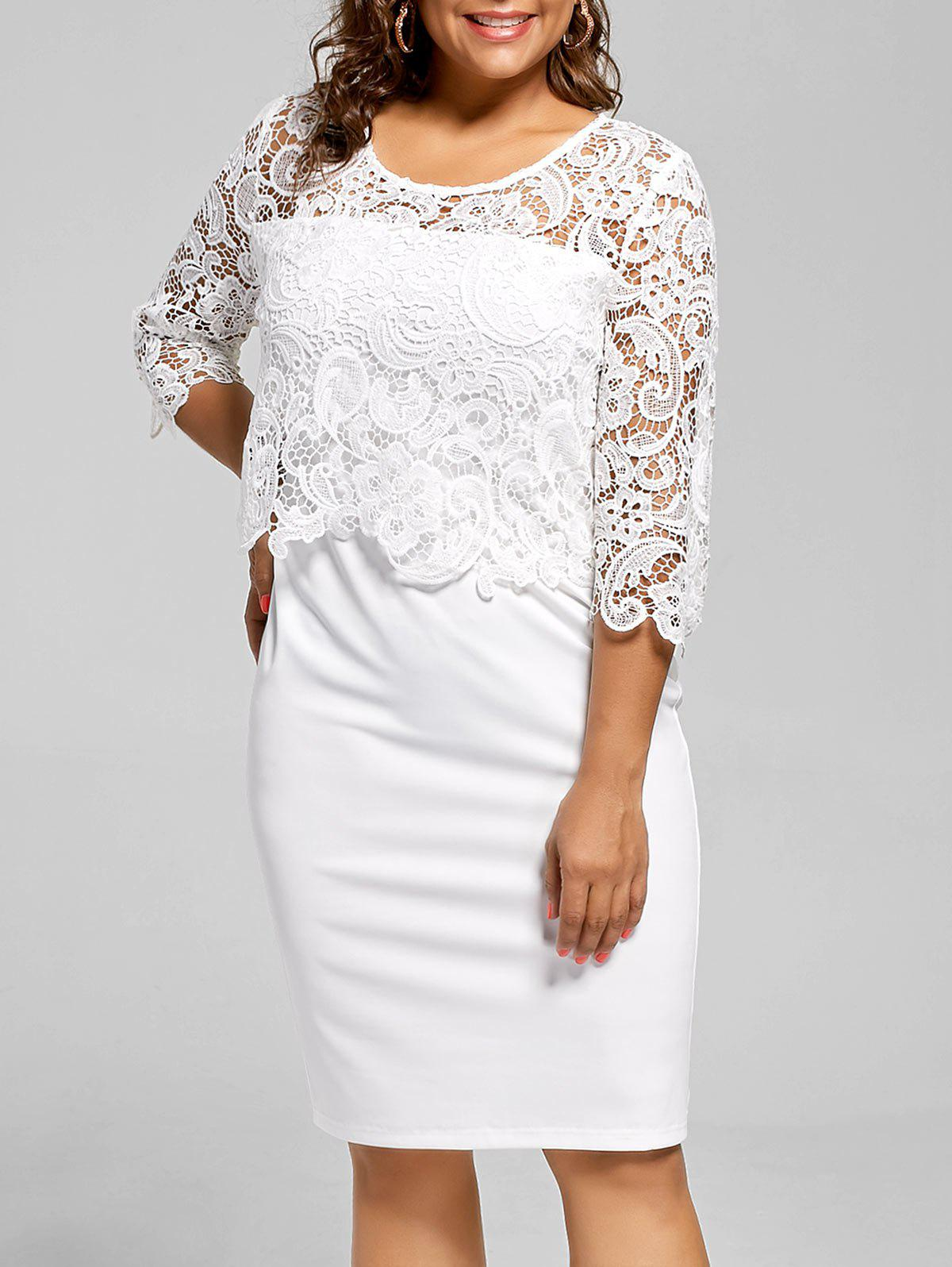 Lace Panel Knee Length Plus Size Bodycon DressWOMEN<br><br>Size: 5XL; Color: WHITE; Style: Casual; Material: Polyester,Spandex; Silhouette: Sheath; Dresses Length: Knee-Length; Neckline: Round Collar; Sleeve Length: 3/4 Length Sleeves; Embellishment: Lace; Pattern Type: Solid; With Belt: No; Season: Fall,Spring,Summer; Weight: 0.3500kg; Package Contents: 1 x Dress;