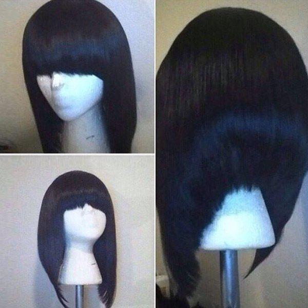 Short Neat Bang High Low Straight Bob Synthetic WigHAIR<br><br>Color: BLACK; Type: Full Wigs; Cap Construction: Capless; Style: Bob; Material: Synthetic Hair; Bang Type: Full; Length: Short; Length Size(Inch): 34; Weight: 0.1800kg; Package Contents: 1 x Wig;