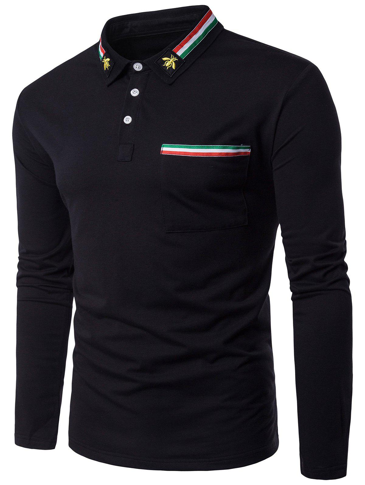 Bee Embroidered Stripe Braid Embellished Polo Collar T-shirtMEN<br><br>Size: M; Color: BLACK; Material: Cotton,Polyester; Sleeve Length: Full; Collar: Polo Collar; Style: Casual,Fashion; Embellishment: Embroidery; Pattern Type: Striped; Weight: 0.2200kg; Package Contents: 1 x T-shirt;