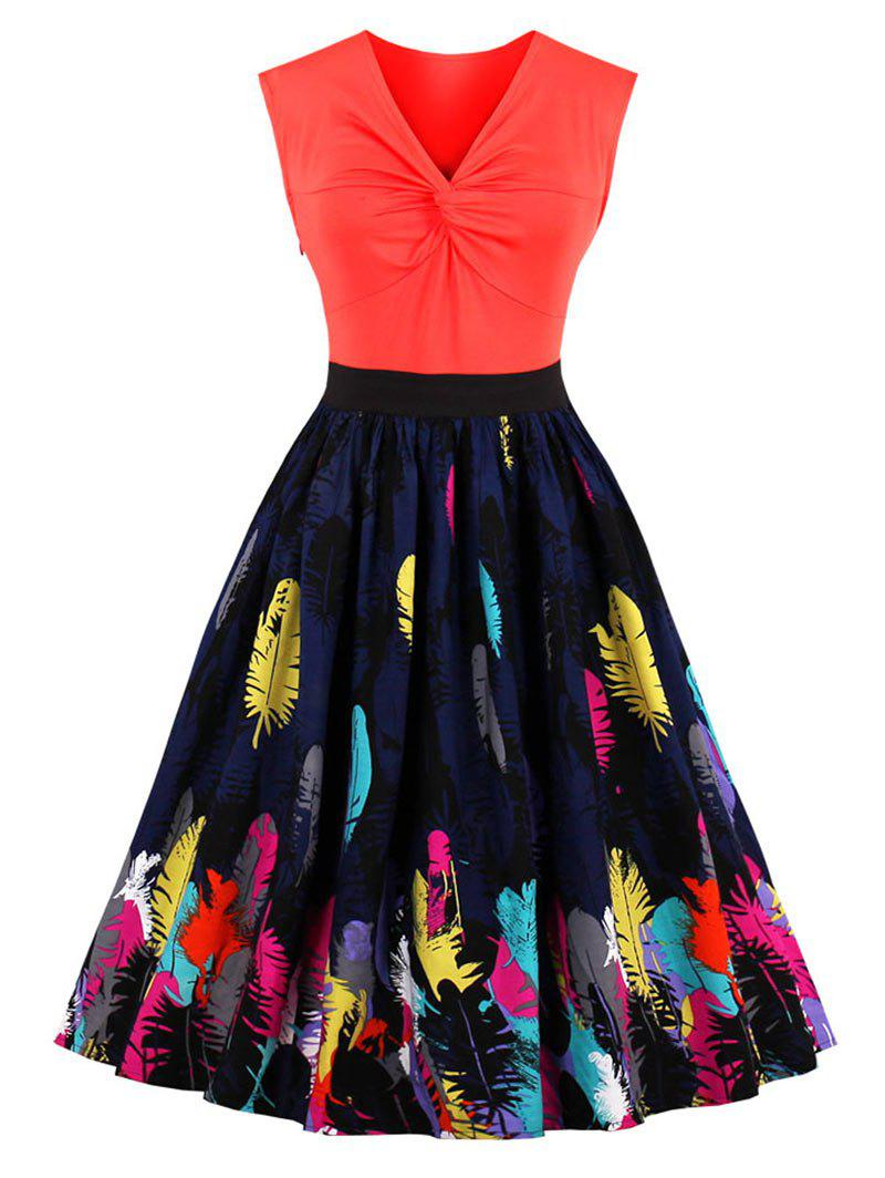Store Feather Print Front Knot Vintage Skater Dress