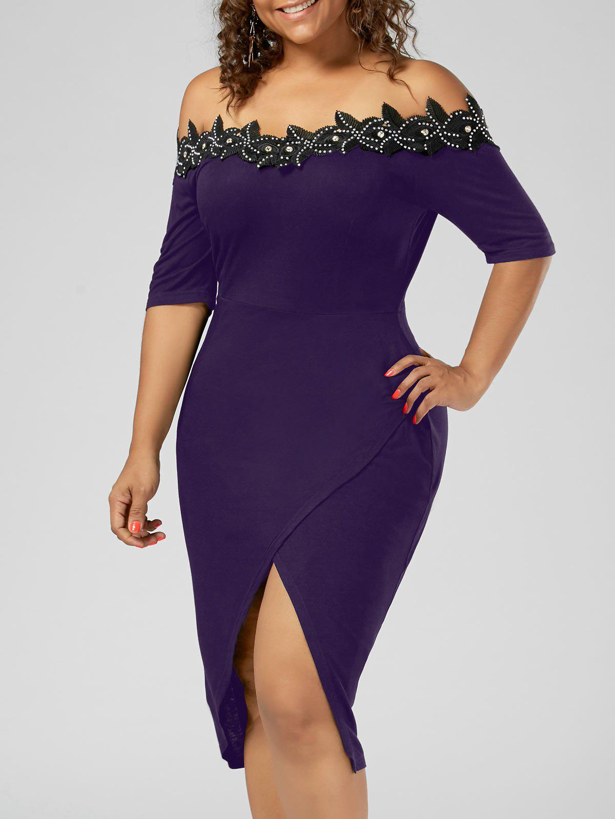 Plus Size Off the Shoulder Applique Pencil DressWOMEN<br><br>Size: XL; Color: PURPLE; Style: Brief; Material: Cotton,Spandex; Silhouette: Sheath; Dresses Length: Knee-Length; Neckline: Off The Shoulder; Sleeve Length: Short Sleeves; Pattern Type: Solid; With Belt: No; Season: Summer; Weight: 0.3500kg; Package Contents: 1 x Dress;