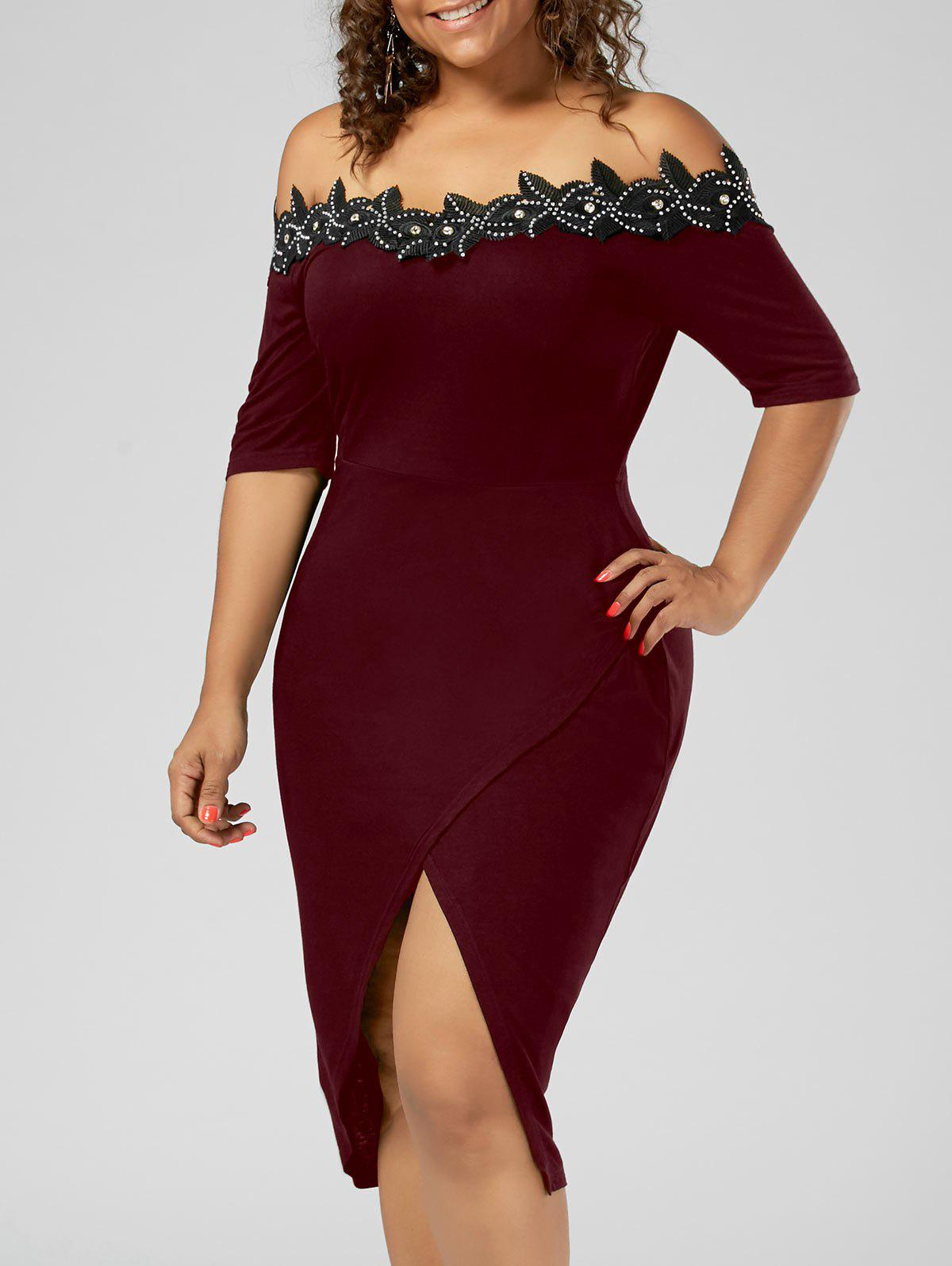 Plus Size Off the Shoulder Applique Pencil DressWOMEN<br><br>Size: 4XL; Color: WINE RED; Style: Brief; Material: Cotton,Spandex; Silhouette: Sheath; Dresses Length: Knee-Length; Neckline: Off The Shoulder; Sleeve Length: Short Sleeves; Pattern Type: Solid; With Belt: No; Season: Summer; Weight: 0.3500kg; Package Contents: 1 x Dress;