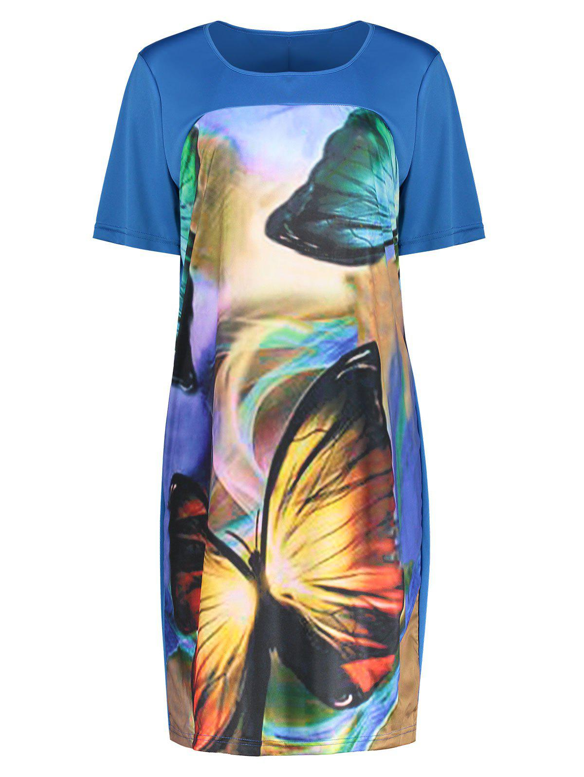 Shops Butterfly Printed Plus Size Casual T-shirt Dress