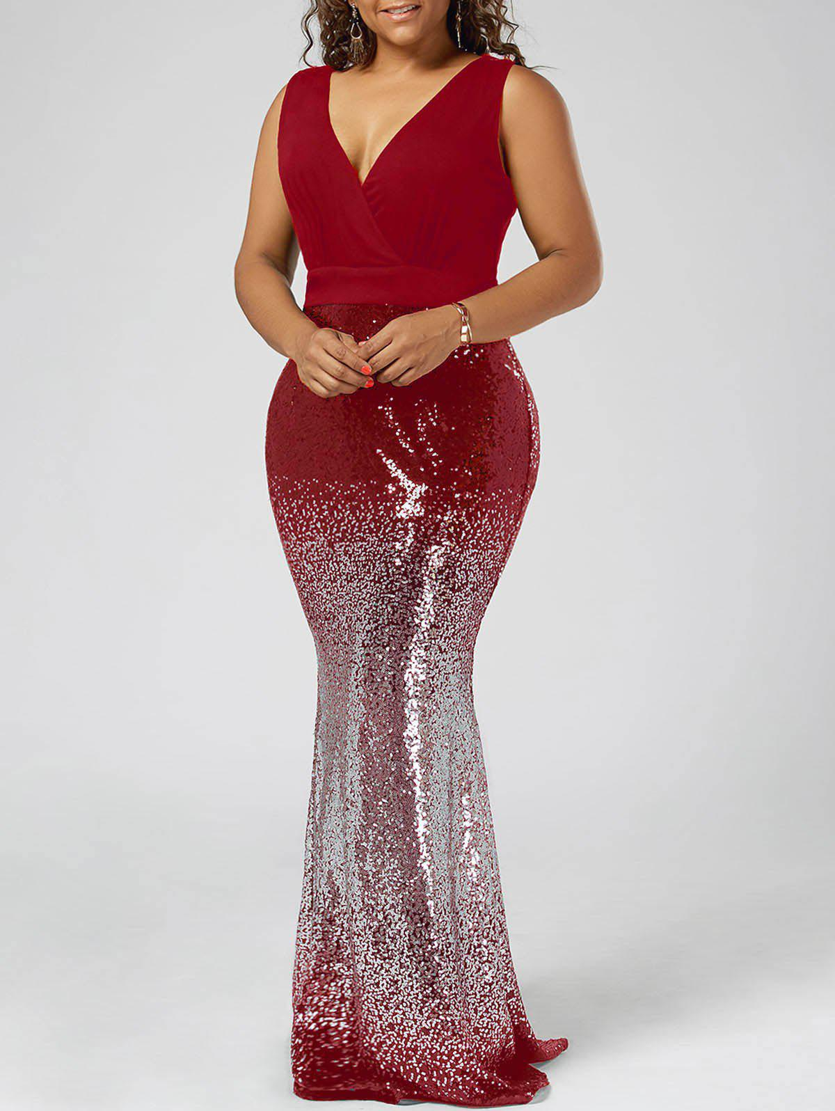 Plus Size Sequins Fishtail Maxi Evening Prom DressWOMEN<br><br>Size: 4XL; Color: RED; Style: Brief; Material: Cotton,Spandex; Silhouette: Trumpet/Mermaid; Dresses Length: Floor-Length; Neckline: V-Neck; Sleeve Length: Sleeveless; Embellishment: Sequins; Pattern Type: Solid; With Belt: No; Season: Summer; Weight: 0.6500kg; Package Contents: 1 x Dress;