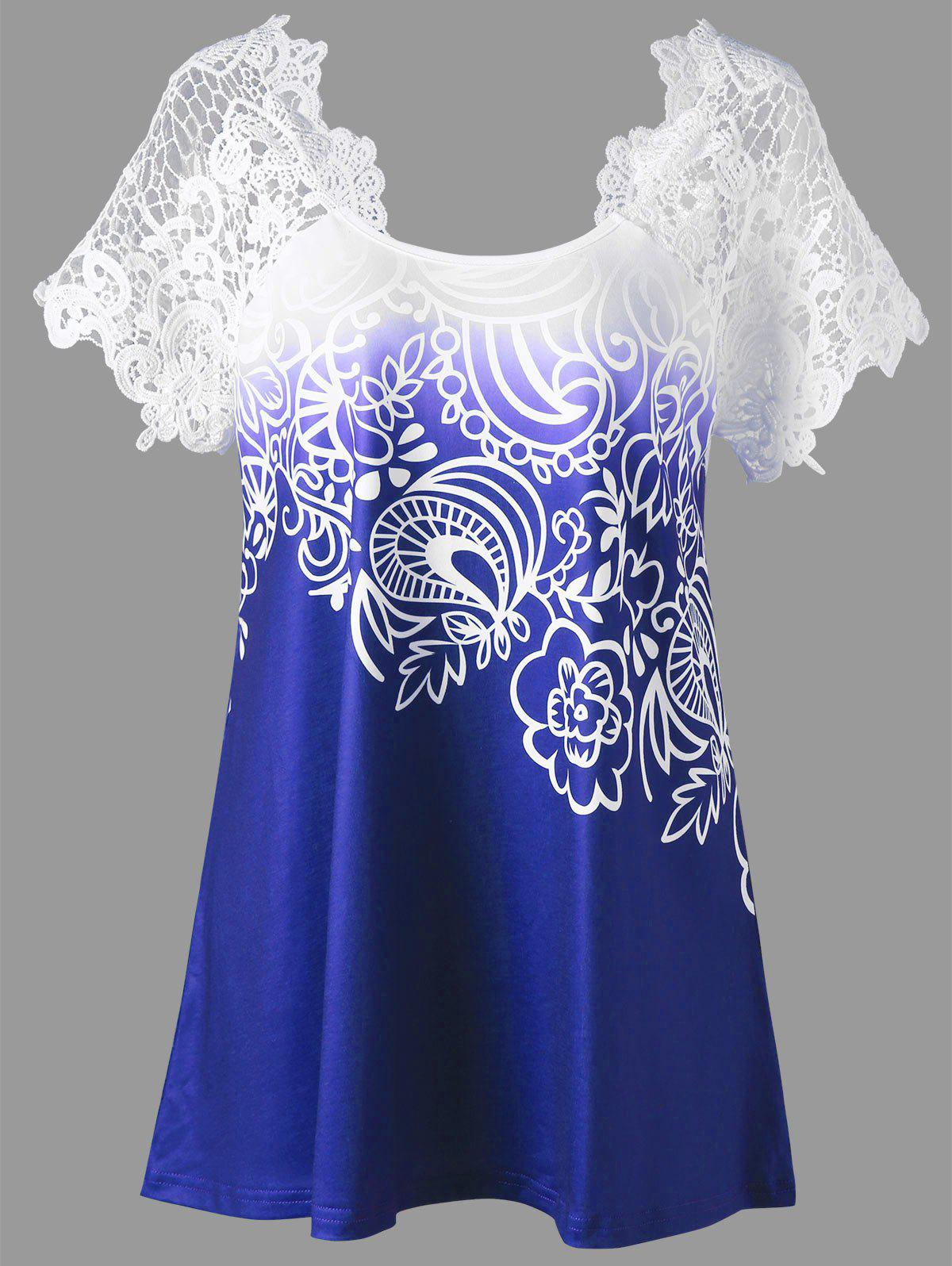 Lace Panel Raglan Sleeve Floral Plus Size TopWOMEN<br><br>Size: 5XL; Color: BLUE; Material: Polyester,Spandex; Shirt Length: Regular; Sleeve Length: Short; Collar: Round Neck; Style: Fashion; Season: Fall,Spring,Summer; Embellishment: Lace; Pattern Type: Floral; Weight: 0.2300kg; Package Contents: 1 x Top;