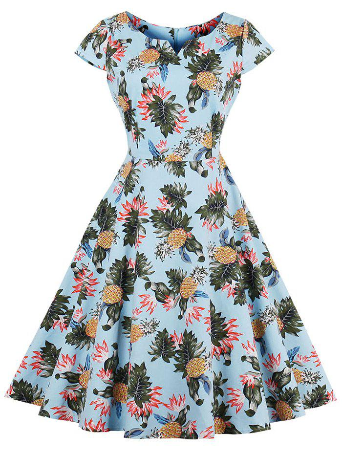 Best Vintage Pineapple Print Skater Dress