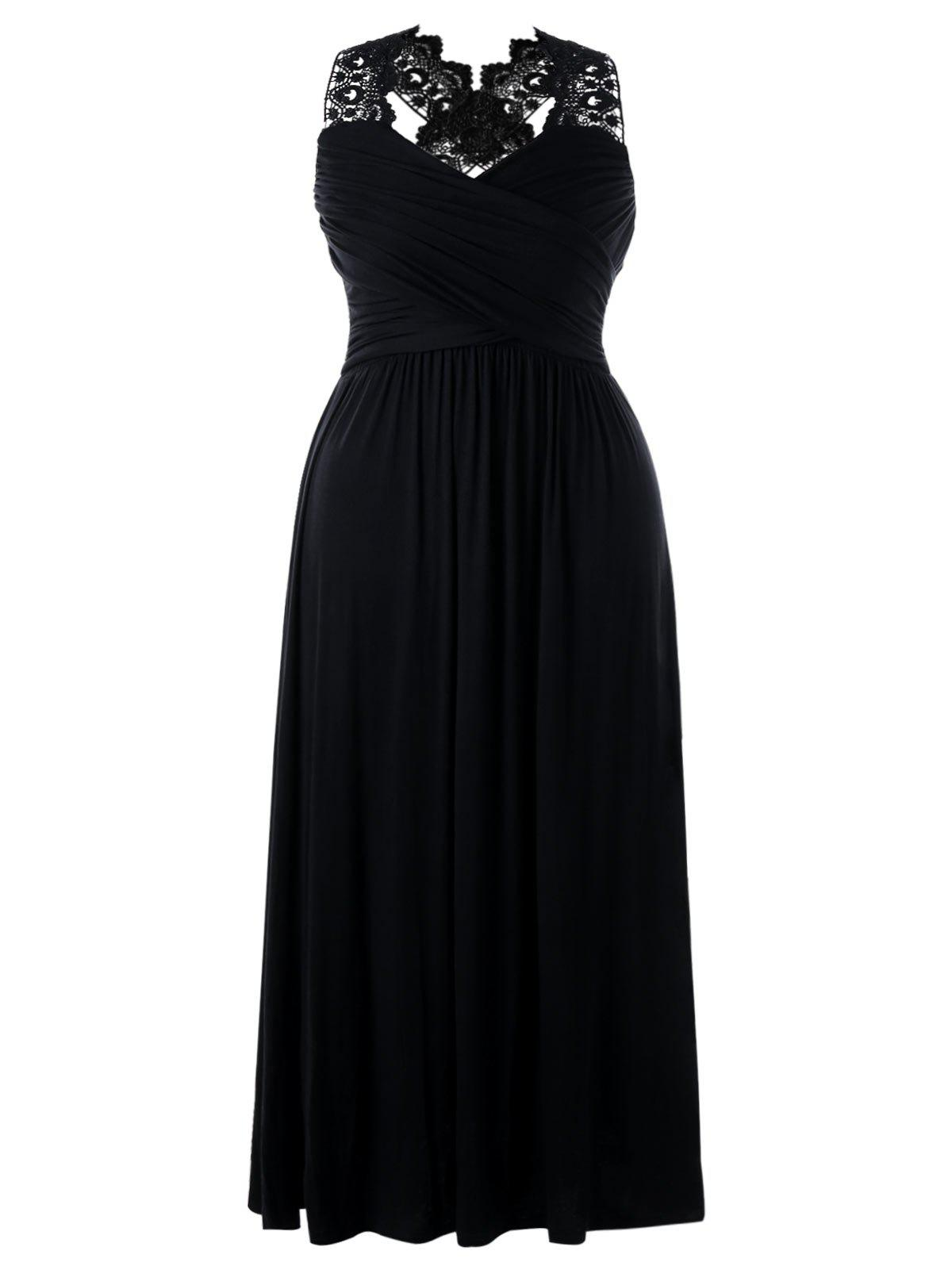 Empire Waist Plus Size Maxi Sweetheart DressWOMEN<br><br>Size: XL; Color: BLACK; Style: Casual; Material: Polyester,Spandex; Silhouette: A-Line; Dresses Length: Ankle-Length; Neckline: Sweetheart Neck; Sleeve Length: Sleeveless; Pattern Type: Solid; With Belt: No; Season: Fall,Spring,Summer; Weight: 0.3500kg; Package Contents: 1 x Dress;