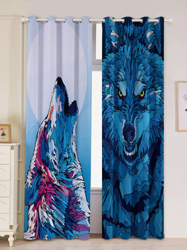 2 Panneau Wolf Window Screen Window Blackout Curtain Bleu Largeur53pouces*Longeur96.5pouces