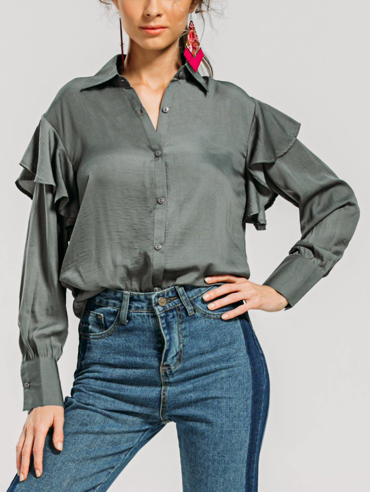 Trendy Ruffles Layered Loose Shirt