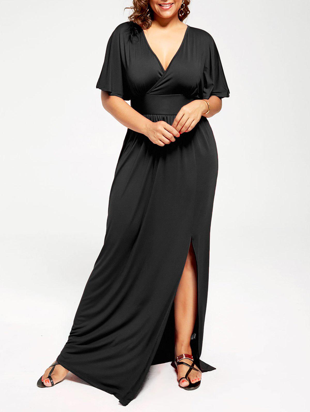 Plus Size Plunge Slit Maxi Empire Waist Formal DressWOMEN<br><br>Size: 2XL; Color: BLACK; Style: Brief; Material: Cotton Blend,Polyester; Silhouette: Ball Gown; Dresses Length: Floor-Length; Neckline: Plunging Neck; Sleeve Type: Butterfly Sleeve; Sleeve Length: Short Sleeves; Waist: High Waisted; Embellishment: Ruched,Ruffles; Pattern Type: Solid Color; With Belt: No; Season: Spring,Summer; Weight: 0.4500kg; Package Contents: 1 x Dress;