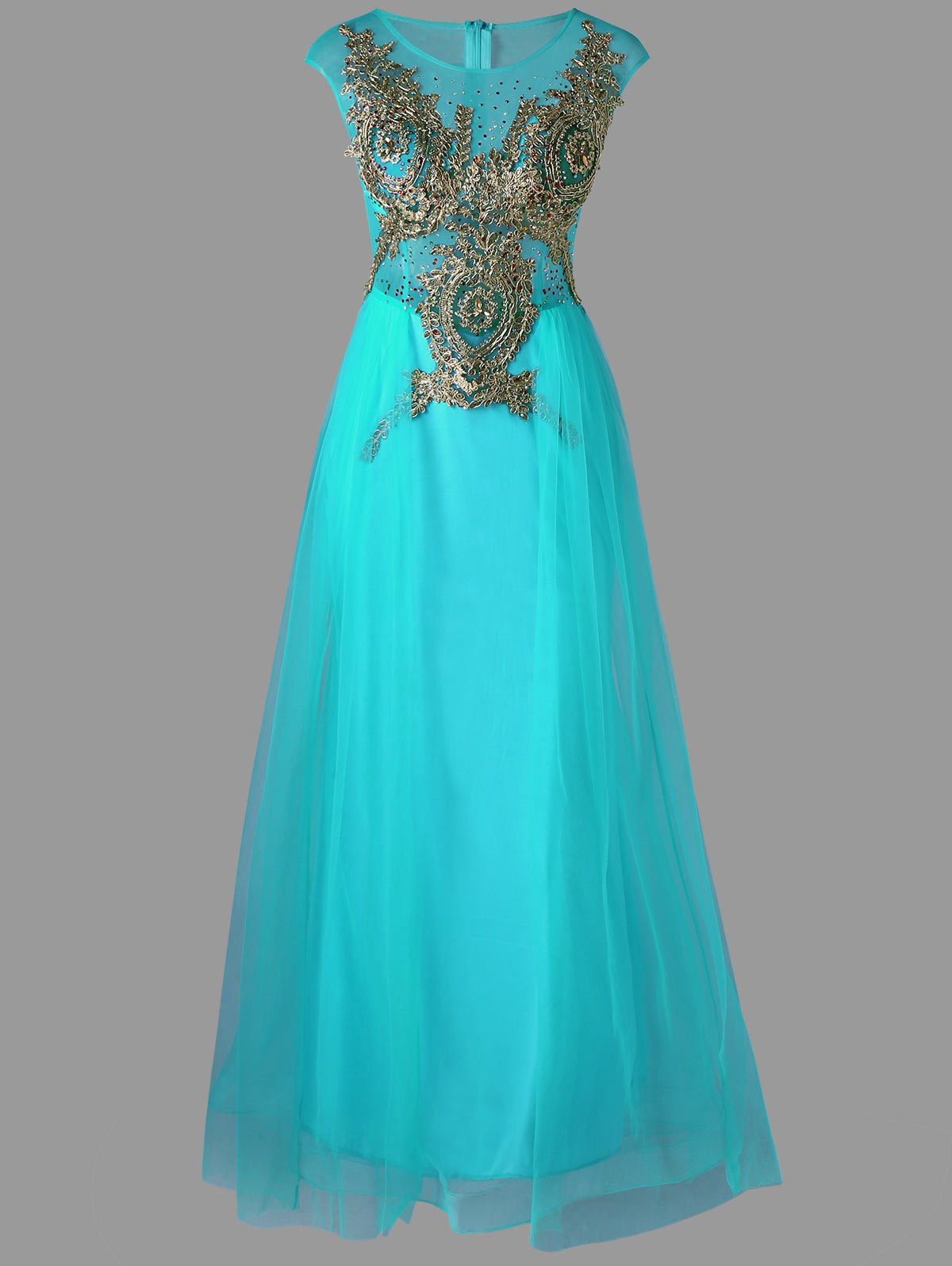 A Line Sleeveless Maxi Tull Carpet Rhinestone DressWOMEN<br><br>Size: M; Color: CYAN; Style: Elegant; Material: Polyester; Silhouette: A-Line; Dresses Length: Floor-Length; Neckline: Round Collar; Sleeve Length: Sleeveless; Pattern Type: Floral; With Belt: No; Season: Fall,Spring,Summer; Weight: 0.3500kg; Package Contents: 1 x Dress;