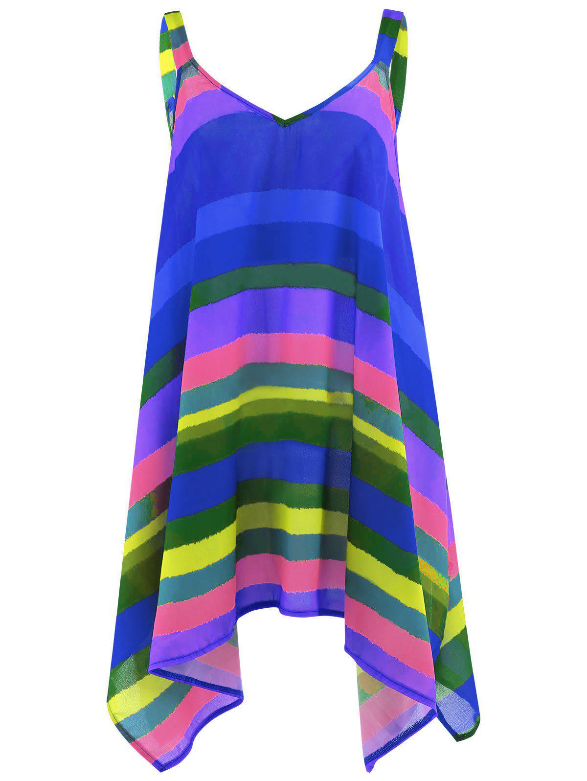 Plus Size Rainbow Striped Spaghetti Strap TopWOMEN<br><br>Size: 4XL; Color: BLUE; Material: Cotton Blends,Polyester; Fabric Type: Chiffon; Shirt Length: Long; Sleeve Length: Sleeveless; Collar: Spaghetti Strap; Style: Fashion; Season: Spring,Summer; Pattern Type: Striped; Weight: 0.1700kg; Package Contents: 1 x Top;