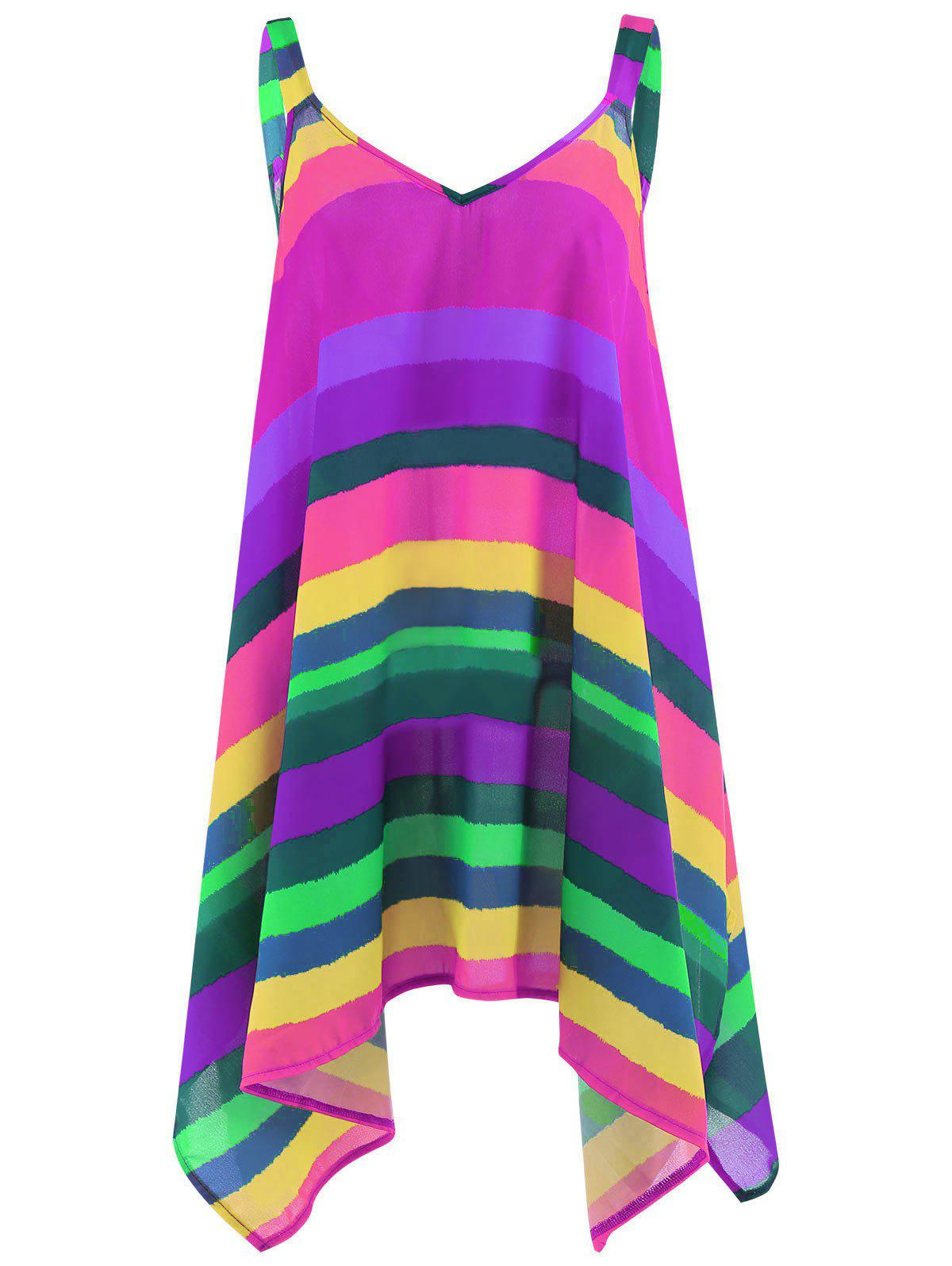 Latest Plus Size Rainbow Striped Spaghetti Strap Top